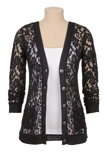 Textured floral lace cardigan (original price, $34) available at ...