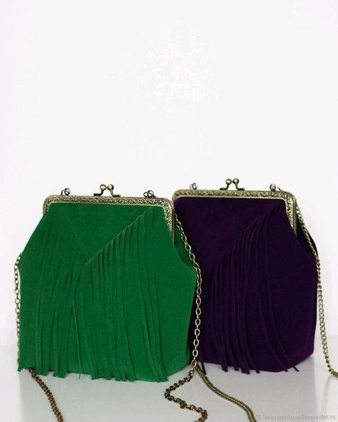 Купить Замшевая сумка с фермуаром и бахромой в интернет магазине на Ярмарке  Мастеров 46b42489ddc