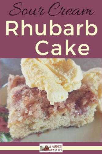 Sour Cream Rhubarb Cake A Farmish Kind Of Life Recipe Rhubarb Cake Recipes Rhubarb Cake Rhubarb Recipes