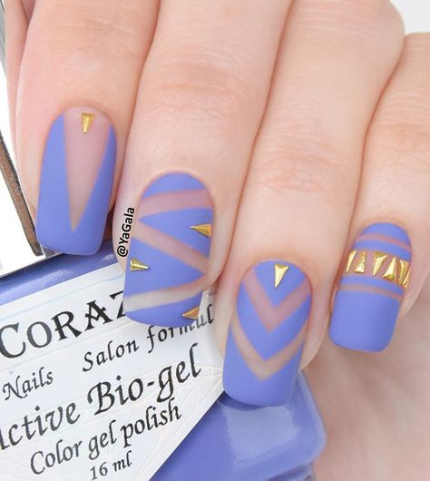 Sheer and gray blue spring nail art combination. You can play along with the blue gray polish and give it a zigzag effect, add gold embellishments on top to complete the look.