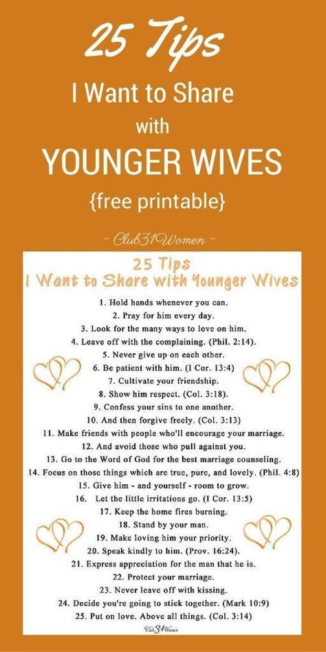 25 Tips I Want to Share With Younger Wives {free printable} ~ Club31Women