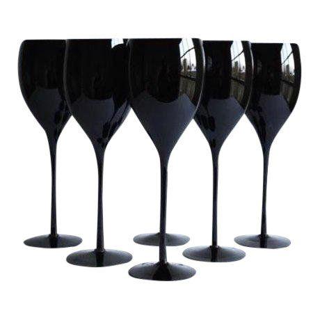 Black Wine Glasses Set Of 6 Black Wine Glasses Black Wine Glass Wine Glasses