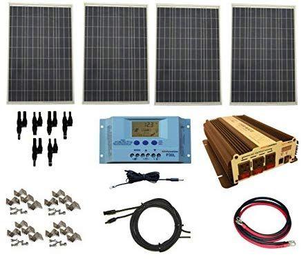 Windynation Complete 400 Watt Solar Panel Kit With 1500 Watt Vertamax Power Inverter Rv Boat For Off Grid Solar Kit Solar Energy Panels Rv Solar Power System
