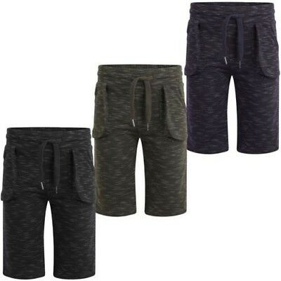 Kids Marl Print Summer Shorts Boys Jersey Bottoms Elasticated Pants 3-14 Years