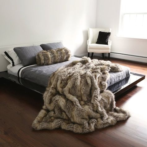 faux fur throws on black leather sofas and chairs - Google ...