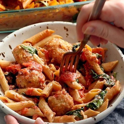 No Boil Baked Penne with Meatballs