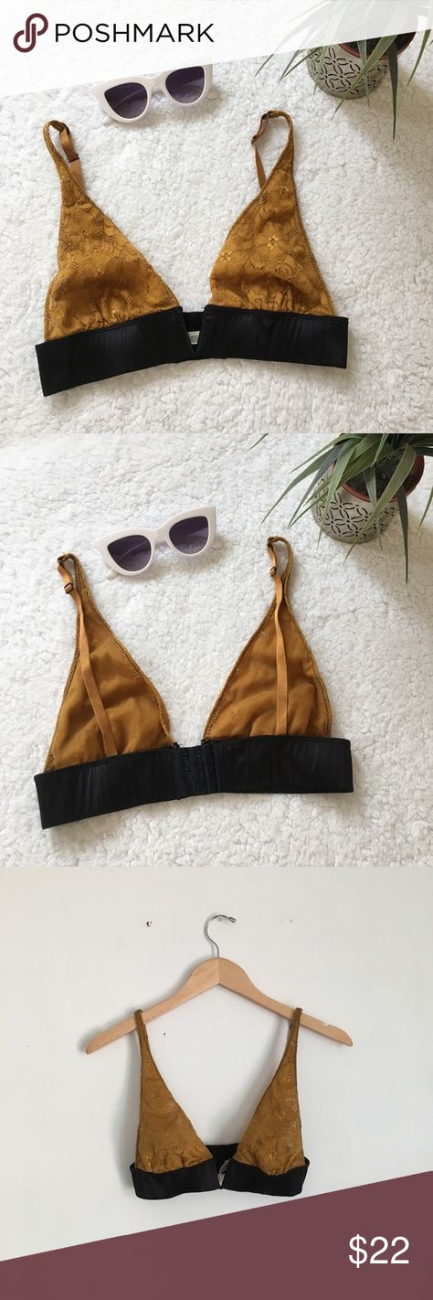 11b843ec64 Free People Yellow Lace Bralette with Black Satin Free People Intimates  Mustard Yellow V chest shaped