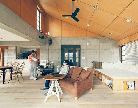 勾配天井が魅力 ゆったりリビングの家20選 家 シナベニヤ