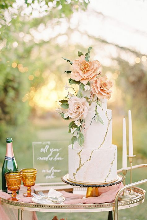 From the editorial Planning a Fall Wedding? You're Going To Want To See This Amber Autumn Dream of a Styled Shoot! This marble wedding cake is simply stunning! | Photography: @miltonphoto #stylemepretty #weddingcake #fallwedding #weddinginspiration