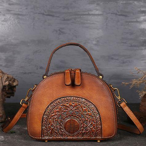1f380dca8ef3b Women Handmade Bag Genuine Leather Ladies Shoulder Bags Vintage Retro Bag  Messenger Crossbody Bags Women Handbag