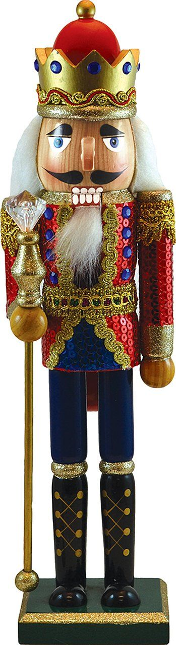This collectible Nutcracker Prince is made of real wood, and hand painted and decorated with sequins, glitter, gems, metallic trim, hair, and amazing detail. It measures 15 inches tall making it a great eye catching piece to decorate your home for the holidays. Collect the whole series!