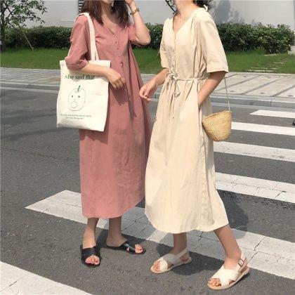 夏新作韓国風無地vネックシンプル2色カジュアルワンピース ファッションスタイル ファッション 韓国 ファッション ワンピース