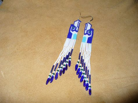 Brich stitch beaded SeaHawk Earrings by DebsVisions on Etsy
