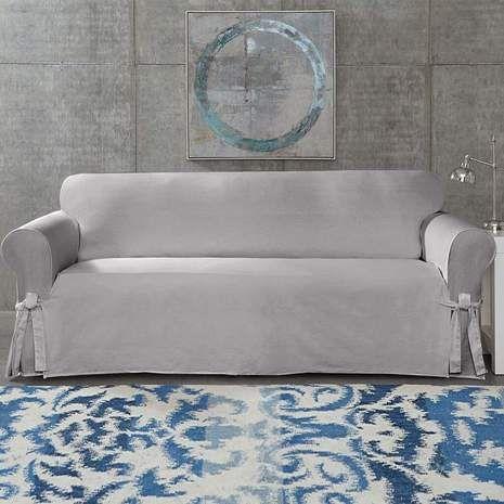 Sure Fit Cotton Duck Sofa Slipcover White