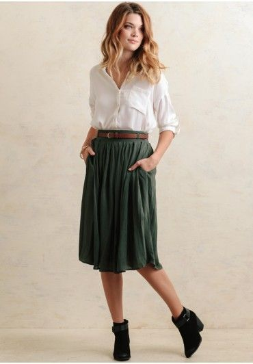 Cider House Midi Skirt In Green Modern Vintage New Arrivals Ruche Vintageclothesforbusymoms Modest Outfits Fashion Clothes