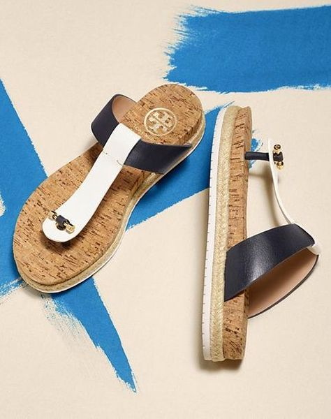 4040f0162 The Tory Burch Cork-Footbed Flat Thong Sandal. An effortless and versatile  pair to wear anywhere