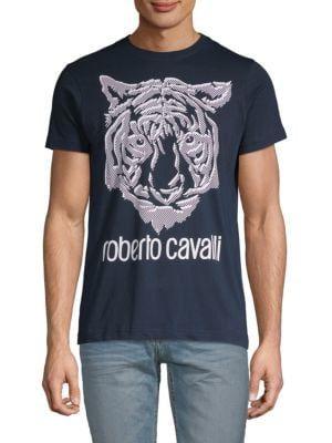 Roberto Cavalli Navy Blue Tiger Logo Crewneck T-Shirt