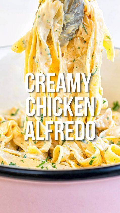 Are looking for any easy Chicken Alfredo recipe? This creamy chicken pasta is simple enough for a weekday meal but fancy enough for date night. Once you make this rich and creamy Alfredo sauce you will want to serve it with everything!