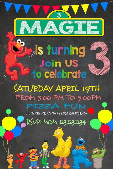 Fun Sesame Street Invitation Elmo Invitation by easyhappyparty