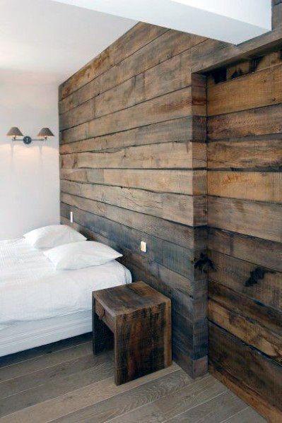 Old Barn Wood Bedroom Wall And Sliding Door Design Ideas Wood Walls Bedroom Wood Interior Walls Wood Wall Design