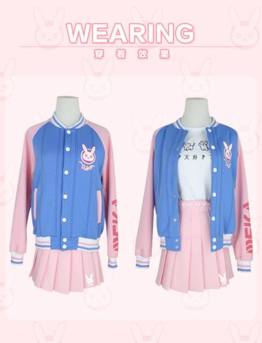 Anime Overwatch D.Va OW Cosplay Costume Coat Jacket Cute Baseball Jacket