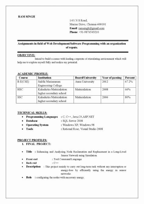 25 Simple Resume Format For Freshers Business Template Example In 2020 Resume Format For Freshers Best Resume Format Simple Resume Format