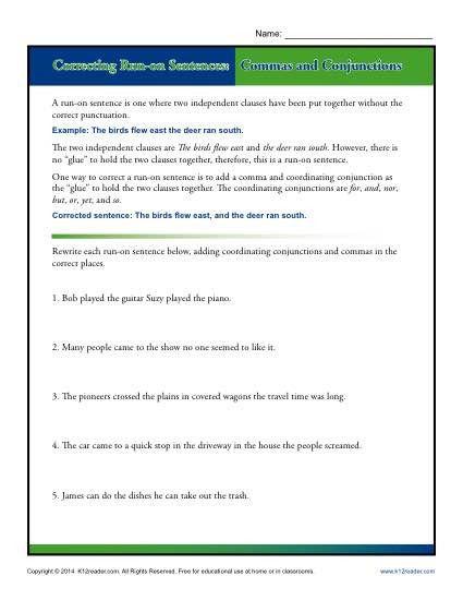 Conjunctions Worksheet 5th Grade Correcting Run On Sentences Mas And Conjunctions Run On Sentences Conjunctions Worksheet Sentences Sentences and fragments worksheets
