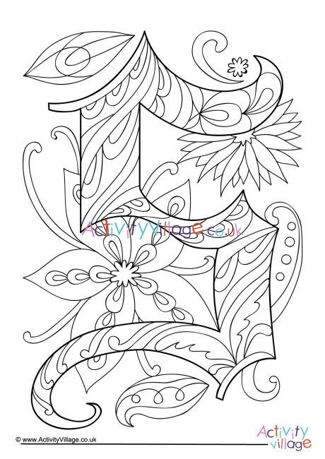 Illuminated Letter S Colouring Page Illuminated Letters Letter A Coloring Pages Coloring Letters