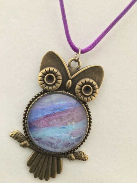 """Excited to share this item from my #etsy shop: Acrylic Poured Owl Pendant Necklace - """"Majestic Love Owl"""""""