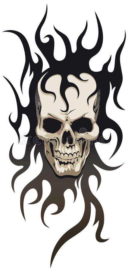 Skull Tribal Tattoo Human Skull With Black Tribal Tattoo Spon Tattoo Tribal Skull Black Skull Ad Skulls Drawing Tribal Skull Skull Art