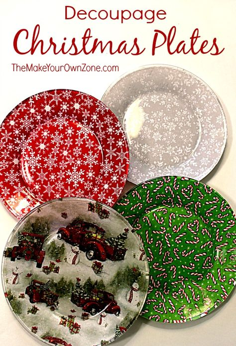 Decoupage Christmas PlatesThese DIY decorative plates can be used to dress up a table or for giving festive food gifts during the holidays.How to Decoupage Glass Plates with FabricHow to Decoupage Glass Plates with FabricMod Christmas Crafts To Make, Christmas Decoupage, Christmas Plates, Homemade Christmas, Christmas Projects, Holiday Crafts, Christmas Holidays, Christmas Decorations, Christmas Ornaments