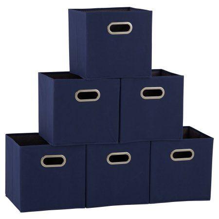 Household Essentials Open Fabric Storage Cube Bins Set Of 6 Interior Blue Dobby Design Houseinter Fabric Storage Bins Fabric Storage Cubes Cube Storage Bins