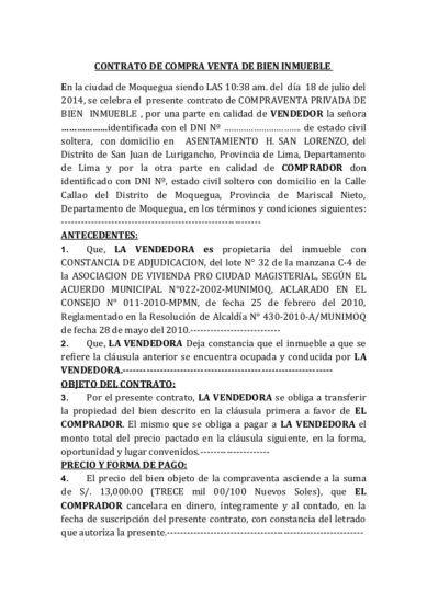 Ejemplo De Contrato Compra Y Venta Modelo De Contrato De Contrato De Compraventa Compra Venta Compras