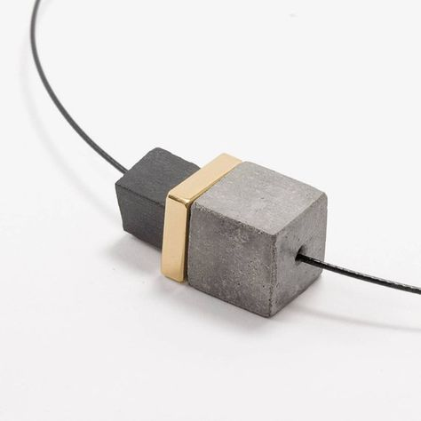 Concrete jewelry concrete short modern jewelry gift for her
