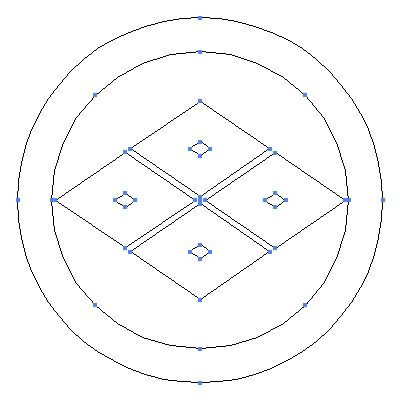 家紋 目結い の一種 丸に四つ目菱 のepsフリー素材作成時の