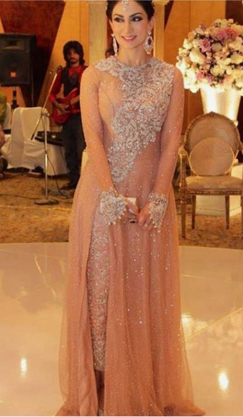 Pakistani Fashion Party Wear Maxi Style In Pastel Pink Color Embellished With Pure Dabka Nagh