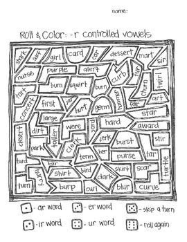 **FREE** Roll & Color:  -r controlled vowels