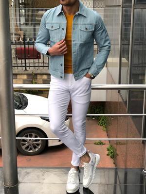 Infinite Blue Denim Jacket Brabion Jeans Outfit Men Denim Jacket Fashion White Denim Jacket Outfit