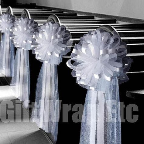 Large White Tulle Pew Bows 10 Wide Set Of 6 Fully Etsy In 2020 Wedding Aisle Decorations Wedding Pew Decorations Church Wedding Decorations