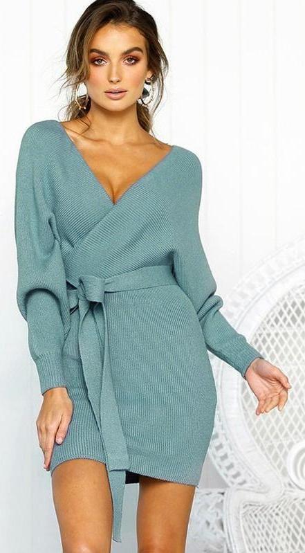 decc2fda9df83 Nadia Long Sleeve V Neck Knitted Dress in 2019 | #fashion | Dresses ...