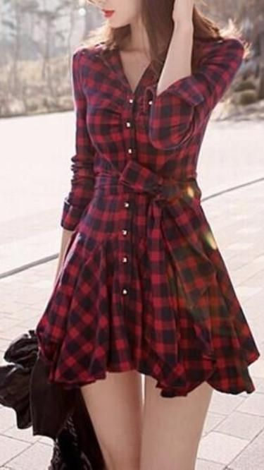 Long Sleeved Turn-Down Collar Dress