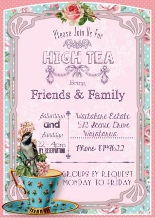 Auckland's Waitakere Estate, High Tea Invitation