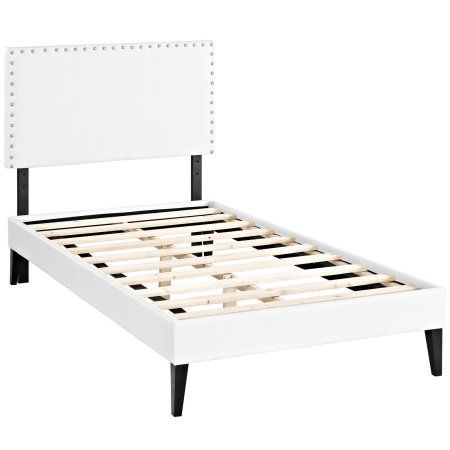 Modway Phoebe Queen Leatherette Platform Bed with Squared Tapered ...