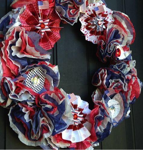 Spark your Summer 4th of July Coffee Filter Wreath | red  white