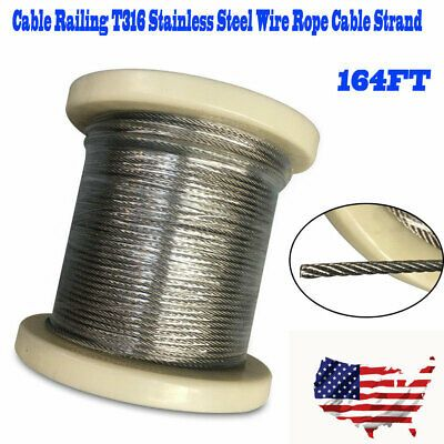 Ad Ebay 164ft 1 8 T316 Stainless Steel Aircraft Wire Rope Deck Cable Railing Kit 7x7 Us In 2020 Cable Railing Stainless Steel Cable Railing Railing