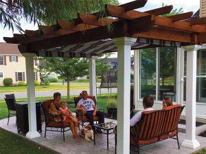 10 X 14 Montana Wood Pergola With Ez Shade Canopy Backyard Patio Designs Pergola Summer Patio