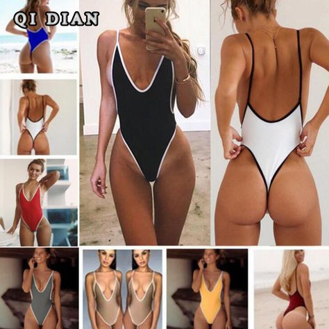 Swimwear 2018 Women One-Piece Monokini Beachwear Swimwear Bathing Push Up Bikini SwimsuitSwimwear Women's One Piece Monokini High Cut Thong Summer U Back Swimsuit Swimwear Bikini