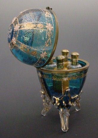 "Antique Moser Scent Casket ""Four Perfume Bottles"""