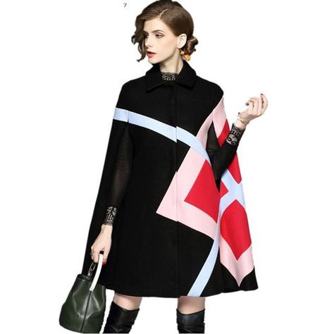 45b88e0cda Women's Jacket Geometric Pattern Batwing Sleeve Woolen Warm Cloak Blend  Outwear for Winter Women's Jacket Geometric