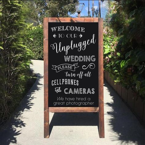 Unplugged Wedding Sign - Welcome To Our unplugged Ceremony Rustic Wedding Chalkboard Sandwich Board   Wedding Easel Sign